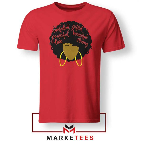 African American Woman Red Tshirt