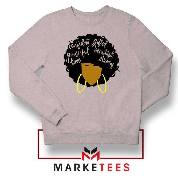 African American Woman Sport Grey Sweatshirt