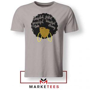 African American Woman Sport Grey Tshirt