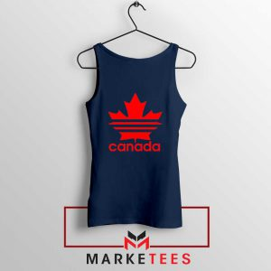 Canada Sport Maple Leaf Navy Blue Tank Top
