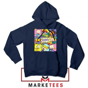 Cartoon Rugrats Boxes Navy Blue Hoodie