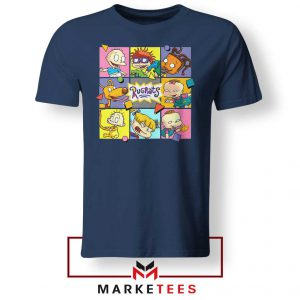 Cartoon Rugrats Boxes Navy Blue Tshirt
