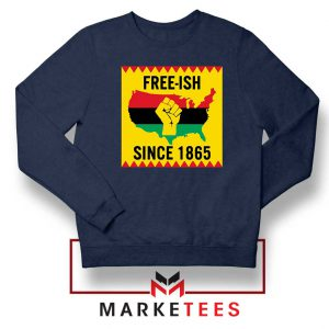 Juneteenth Day Flag Navy Blue Sweatshirt