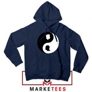 No To Racism Yin Yan Symbol Navy Blue Hoodie