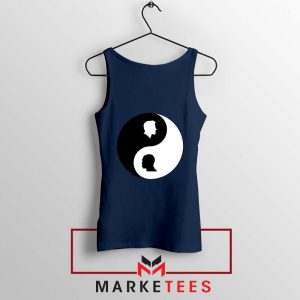 No To Racism Yin Yan Symbol Navy Blue Tank Top