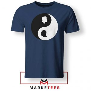 No To Racism Yin Yan Symbol Navy Blue Tshirt