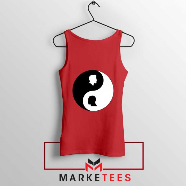 No To Racism Yin Yan Symbol Red Tank Top