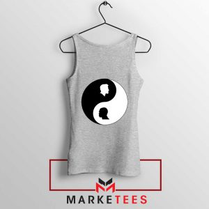 No To Racism Yin Yan Symbol Sport Grey Tank Top