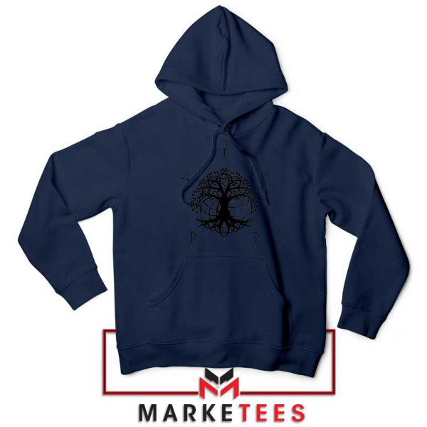 Norse Yggdrasill Navy Blue Hoodie