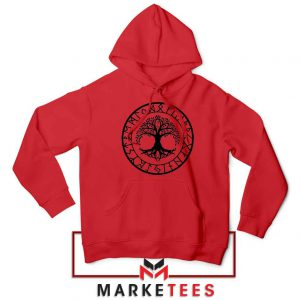 Old Norse Yggdrasill Red Hoodie