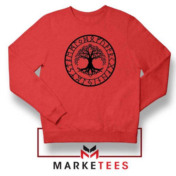 Old Norse Yggdrasill Red Sweatshirt