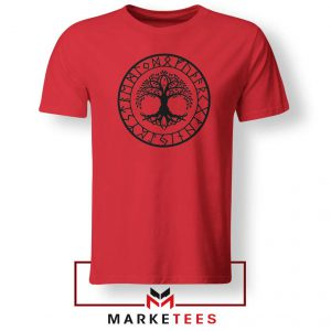 Old Norse Yggdrasill Red Tshirt