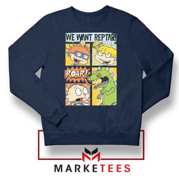 Rugrats We Want Reptar Navy Blue Sweatshirt