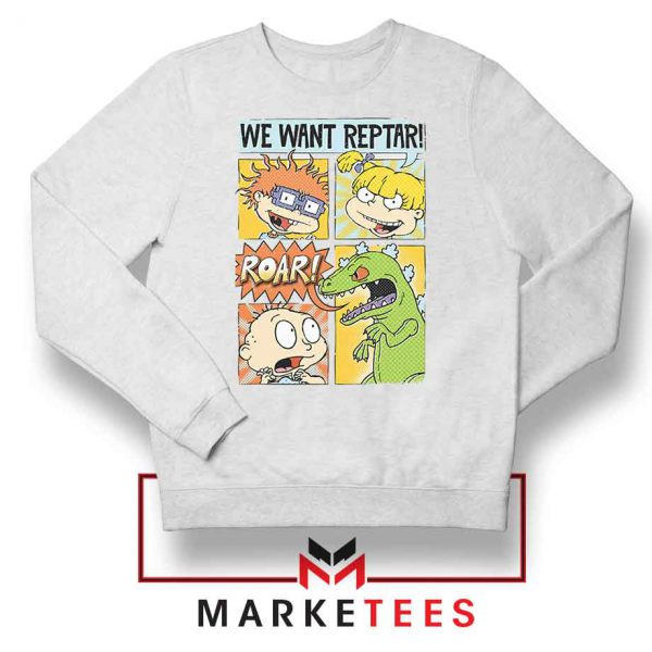 Rugrats We Want Reptar White Sweatshirt