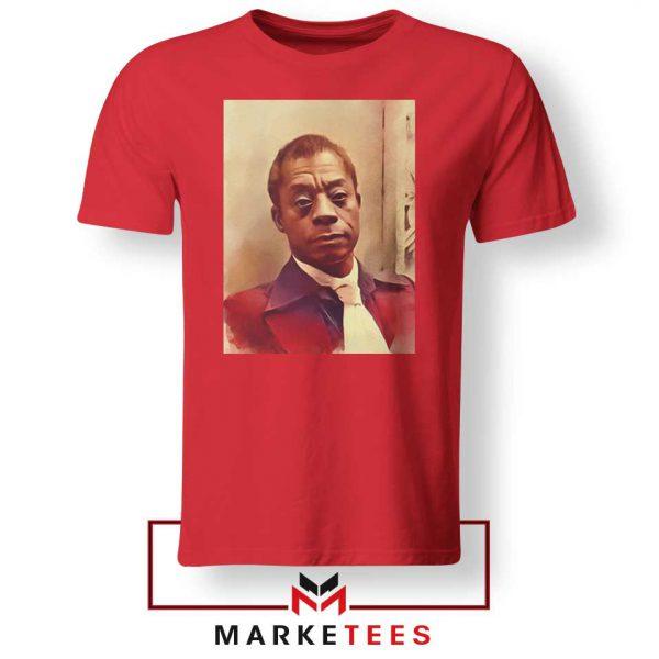Baldwin American Novelist Red Tshirt