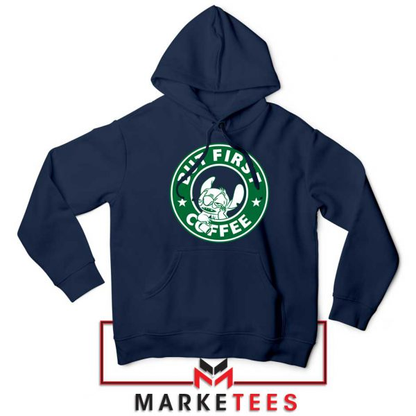 But First Coffee Navy Blue Hoodie