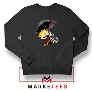 Calvin Hobbes Umbrella Black Sweatshirt