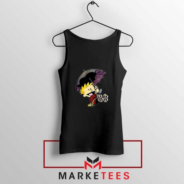 Calvin Hobbes Umbrella Black Tank Top