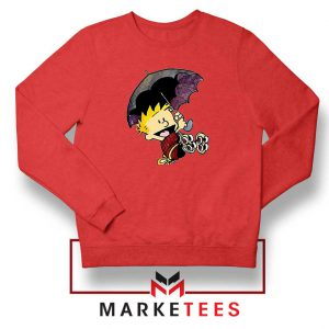 Calvin Hobbes Umbrella Red Sweatshirt