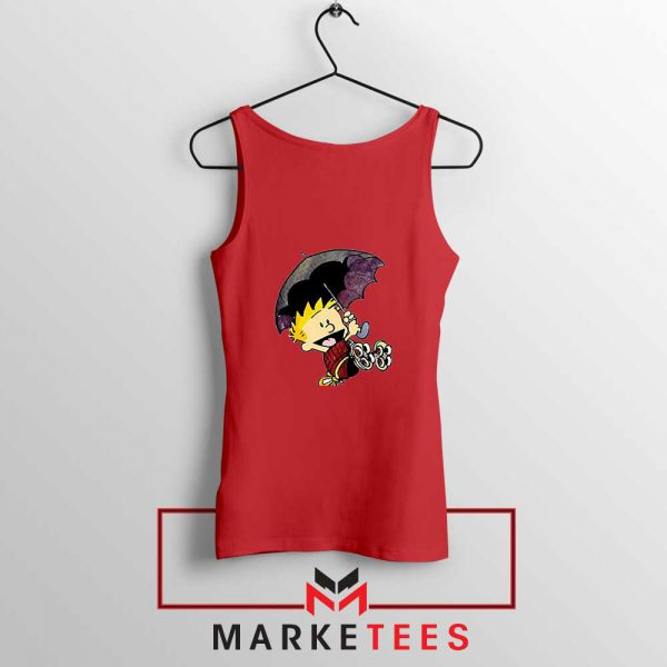 Calvin Hobbes Umbrella Red Tank Top