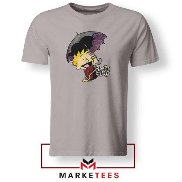 Calvin Hobbes Umbrella Sport Grey Tshirt