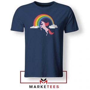 Cheap Rainbow Unicorn Navy Blue Tshirt
