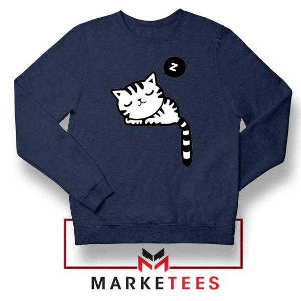 Cute Cat Sleeping Navy Blue Sweatshirt