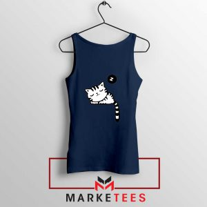 Cute Cat Sleeping Navy Blue Tank Top