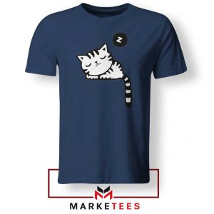 Cute Cat Sleeping Navy Blue Tshirt