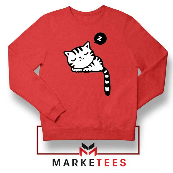 Cute Cat Sleeping Red Sweatshirt