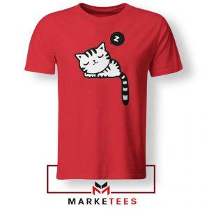 Cute Cat Sleeping Red Tshirt
