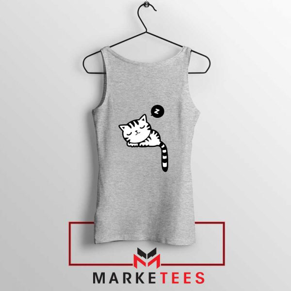 Cute Cat Sleeping Sport Grey Tank Top