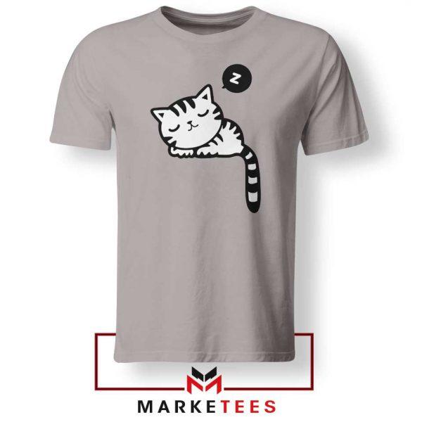 Cute Cat Sleeping Sport Grey Tshirt
