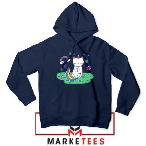 Dabbing Cat Unicorn Navy Blue Hoodie