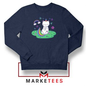 Dabbing Cat Unicorn Navy Blue Sweatshirt