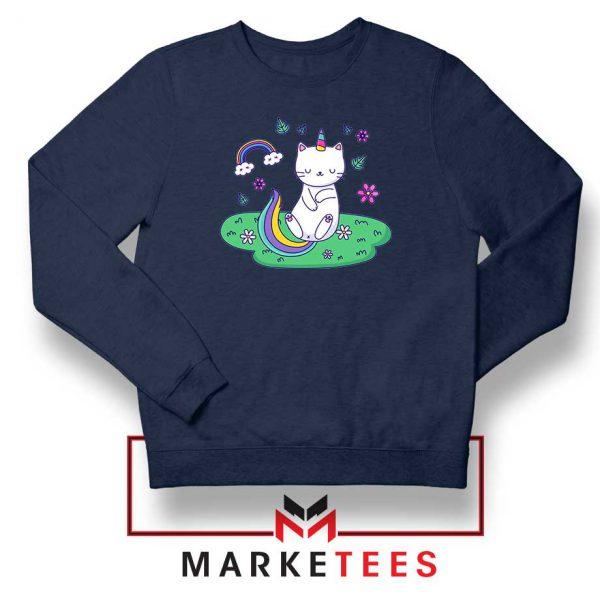 Dabbing Cat Unicorn Navy Blue Sweatshirt