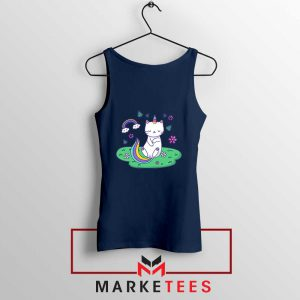 Dabbing Cat Unicorn Navy Blue Tank Top