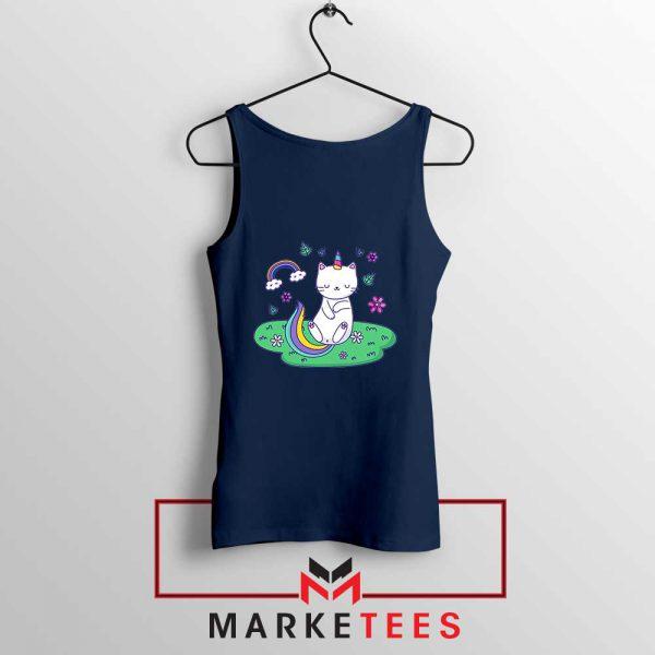 Dabbing Cat Unicorn Navy Blue Tank Top