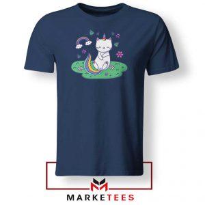 Dabbing Cat Unicorn Navy Blue Tshirt