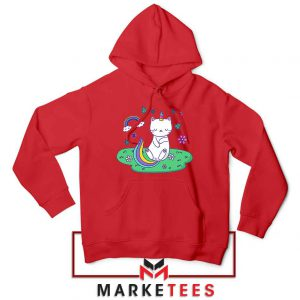 Dabbing Cat Unicorn Red Hoodie