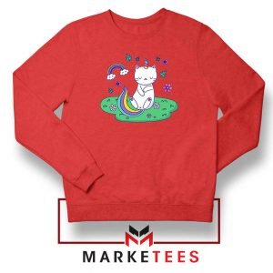 Dabbing Cat Unicorn Red Sweatshirt