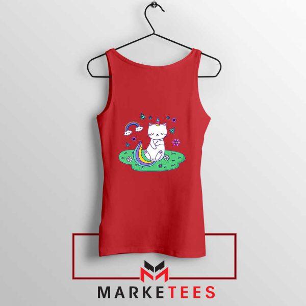 Dabbing Cat Unicorn Red Tank Top
