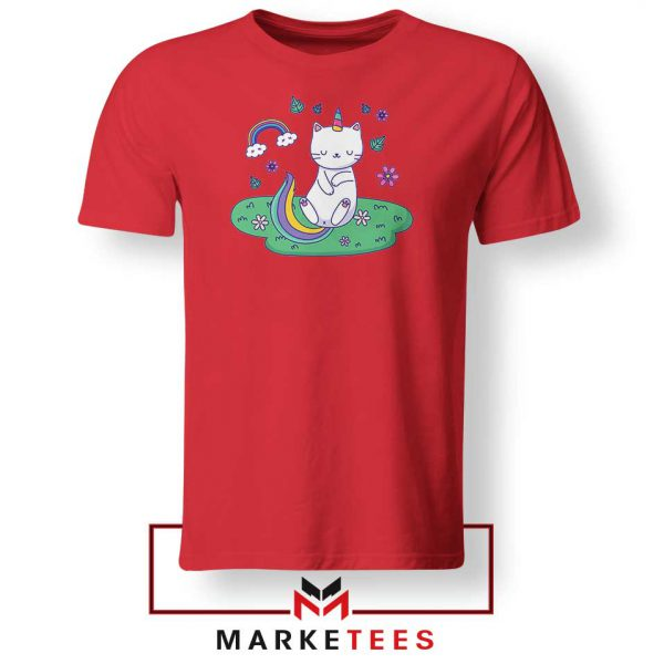 Dabbing Cat Unicorn Red Tshirt
