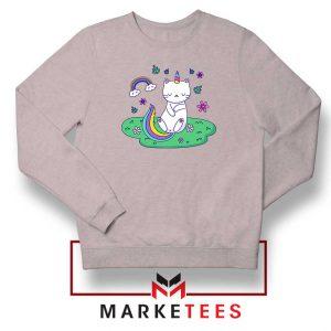 Dabbing Cat Unicorn Sport Grey Sweatshirt