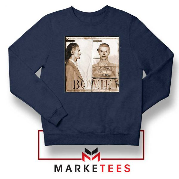 David Bowie Mugshot Navy Blue Sweatshirt