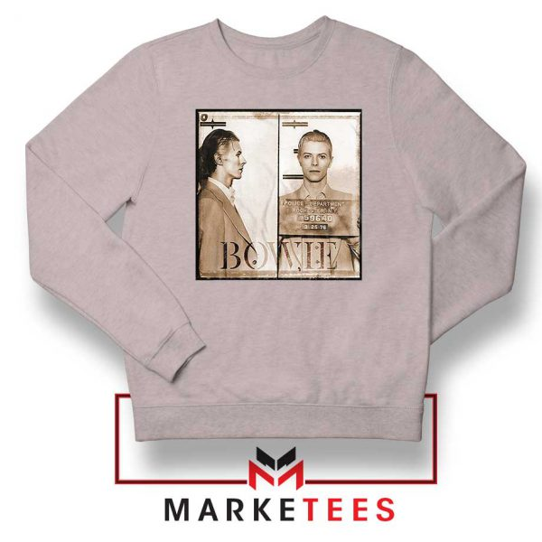 David Bowie Mugshot Sport Grey Sweatshirt