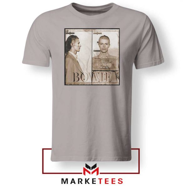 David Bowie Mugshot Sport Grey Tshirt