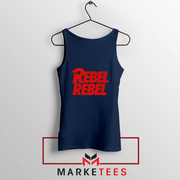 David Bowie Rebel Rebel Navy Blue Tank Top
