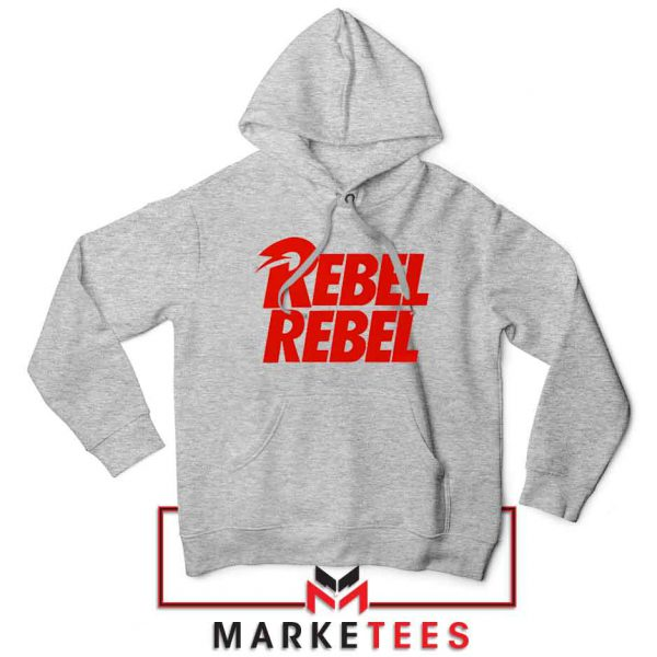 David Bowie Rebel Rebel Sport Grey Hoodie