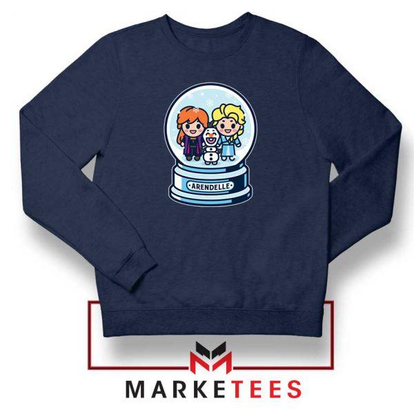 Elsa Anna Olaf Snow Globe Navy Blue Sweatshirt